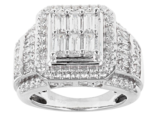 Photo of Pre-Owned Bella Luce ® 4.03ctw Baguette And Round Rhodium Over Sterling Silver Ring - Size 5