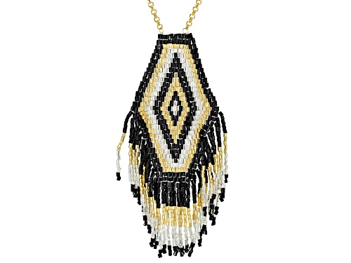 Photo of Pre-Owned Artisan Collection Of Colombia™Yellow,Black & White Glass Seed-Bead 18k Gold Over Bronz - Size 24