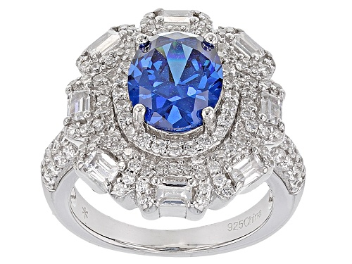 Photo of Pre-Owned Bella Luce ® 6.50ctw Blue Apatite And White Diamond Simulants Rhodium Over Sterling Silv - Size 11