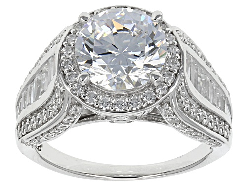 Photo of Pre-Owned Bella Luce ® 9.93ctw Round And Baguette Rhodium Over Sterling Silver Ring - Size 5