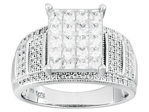 Pre-Owned Bella Luce ® 2.66ctw Diamond Simulant Rhodium Over Sterling Silver Ring (1.75ctw Dew) - Size 5
