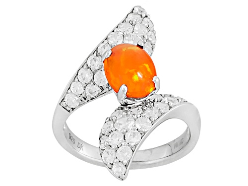 Photo of Pre-Owned .64ct Cabochon Oval Orange Ethiopian Opal And .94ctw Round White Zircon Sterling Silver By - Size 12