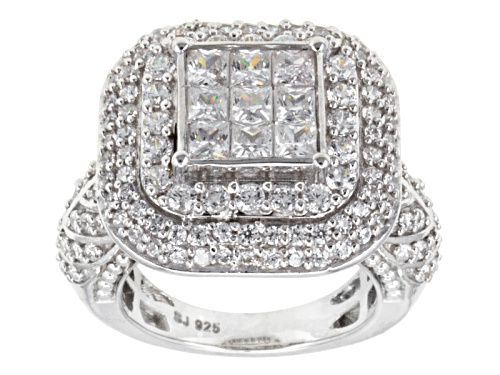 Pre-Owned Bella Luce (R) 4.20ctw Princess Cut & Round Rhodium Over Sterling Silver Ring (2.23ctw Dew - Size 6