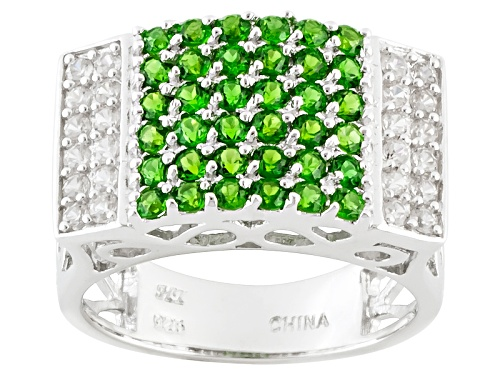 Photo of Pre-Owned .86ctw Round Chrome Diopside With .46ctw Round White Zircon Sterling Silver Ring - Size 5
