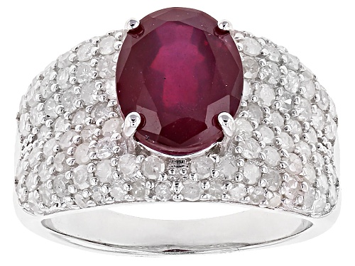 Photo of Pre-Owned 2.98ct Oval Mahaleo® Ruby With 1.14ctw Round White Diamond Sterling Silver Ring - Size 6