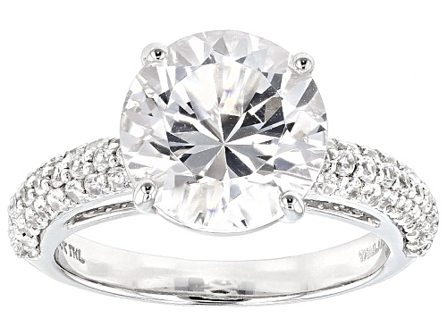 Photo of Pre-Owned 3.50ct Round Danburite With .79ctw Round White Zircon 10k White Gold Ring - Size 12