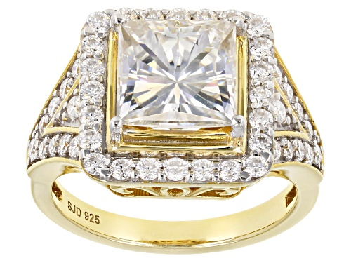 Photo of Pre-Owned Moissanite Fire® 3.98ctw Dew Square Brilliant And Round 14k Yellow Gold Over Silver Ring - Size 7