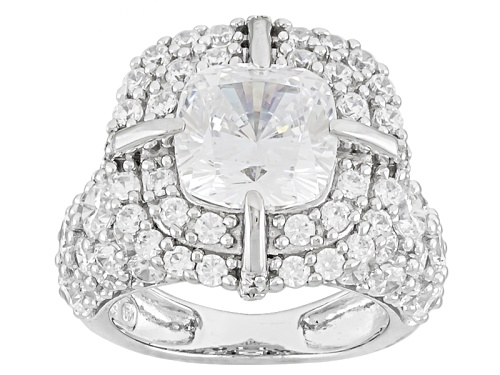 Photo of Pre-Owned Bella Luce ® 12.49ctw Rhodium Over Sterling Silver Ring (6.45ctw Dew) - Size 10