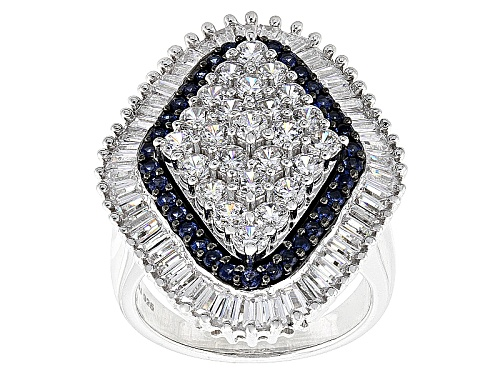 Pre-Owned Bella Luce ® 5.84ctw Diamond Simulant & Lab Created Sapphire Rhodium Over Sterling Silve - Size 11