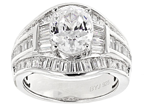 Photo of Pre-Owned Bella Luce ® 6.95ctw Diamond Simulant Oval & Baguette Rhodium Over Silver Ring. - Size 5