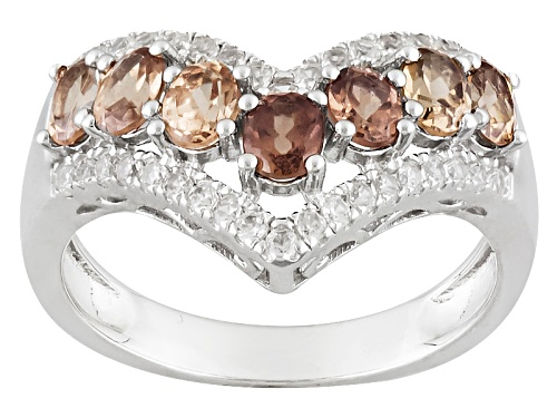 Photo of Pre-Owned 1.56ctw Color Shift Garnet And .57ctw Round White Zircon Sterling Silver Chevron Ring - Size 5