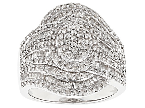 Photo of Pre-Owned 1.63ctw Round And Baguette White Diamond Rhodium Over Sterling Silver Cluster Ring - Size 8
