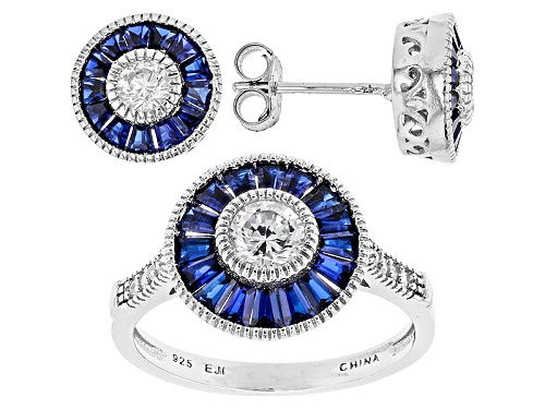 Photo of Pre-Owned Bella Luce® 3.09ctw Sapphire & White Diamond Simulants Rhodium Over Silver Ring And Earrin