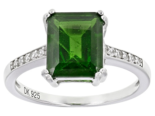 Photo of Pre-Owned 3.03ct Emerald Cut Russian Chrome Diopside And .12ctw Round White Zircon Sterling Silver R - Size 8
