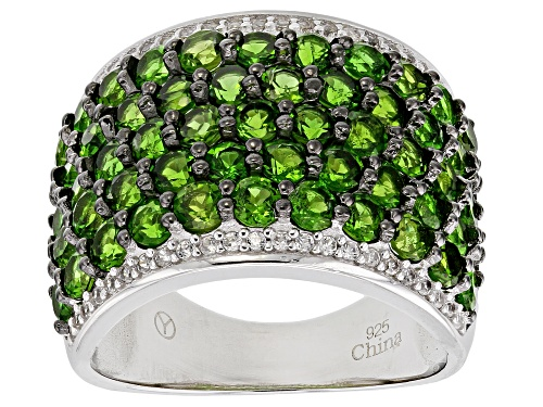 Photo of Pre-Owned 4.15ctw Round Russian Chrome Diopside With .32ctw Round White Zircon Sterling Silver Band - Size 9