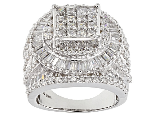 Photo of Pre-Owned Bella Luce ® 8.30ctw Diamond Simulant Rhodium Over Sterling Silver Ring (5.57ctw Dew) - Size 11