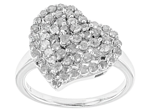 Photo of Pre-Owned 1.00ctw Round White Diamond Rhodium Over Sterling Silver Heart Ring - Size 7