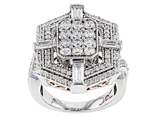 Photo of Pre-Owned Michael O' Connor For Bella Luce® Diamond Simulant Rhodium Over Sterling & Eterno™ Rose Ri - Size 11
