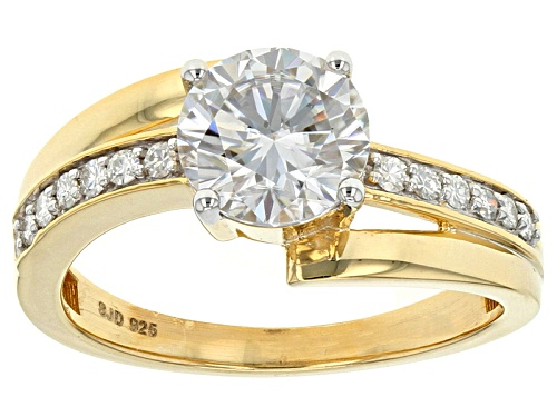 Photo of Pre-Owned Moissanite Fire® 1.62ctw Dew Round 14k Yellow Gold Over Silver Ring - Size 7