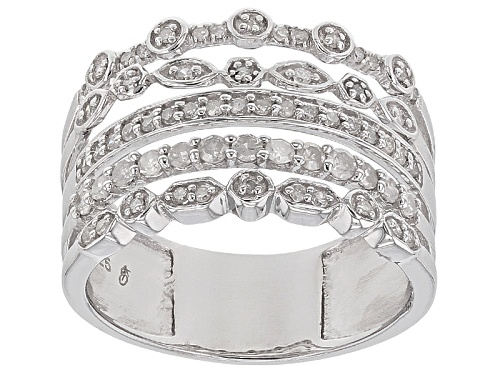 Photo of Pre-Owned .50ctw Round White Diamond Rhodium Over Sterling Silver Ring - Size 8
