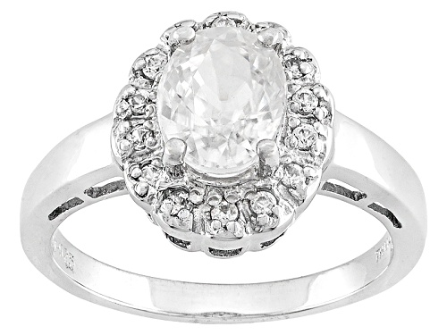 Photo of Pre-Owned 1.69ctw Oval And Round White Zircon Sterling Silver Ring - Size 7