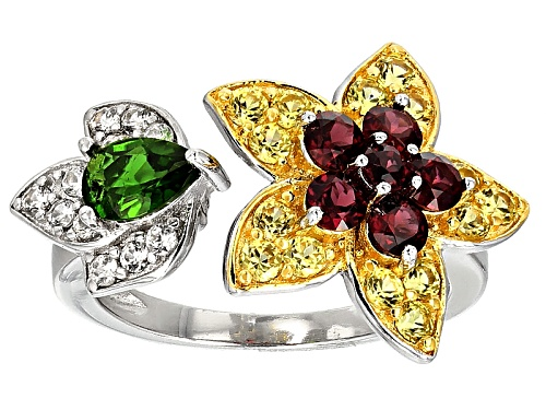 Photo of Pre-Owned 1.95ctw Raspberry Color Rhodolite, Yellow Sapphire, Chrome Diopside & Zircon Silver Floral - Size 9