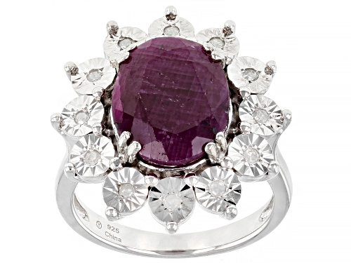 Photo of Pre-Owned 4.95ct Oval Indian Ruby With .10ctw  Round White Diamond Sterling Silver Ring - Size 9