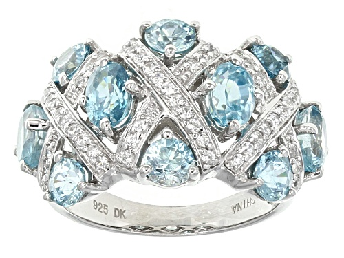 Photo of Pre-Owned 4.58ctw Oval And Round Blue Zircon With .38ctw Round White Zircon Sterling Silver Ring - Size 5
