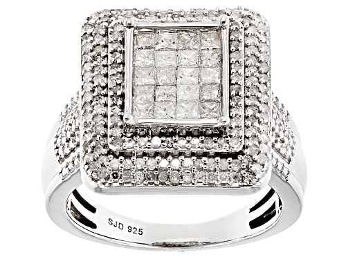 Photo of Pre-Owned 1.05ctw Round And Princess Cut White Diamond Rhodium Over Sterling Silver Ring - Size 5