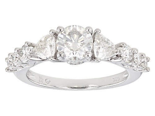 Photo of Pre-Owned Moissanite Fire® 1.94ctw Dew Round And Trillion Cut Platineve™ Ring - Size 9