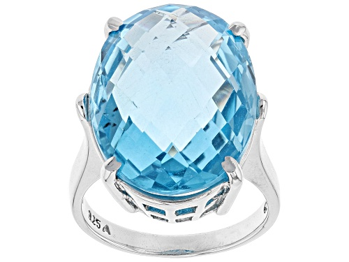 Photo of Pre-Owned 18.00ct Oval Blue Topaz Sterling Silver Ring - Size 9