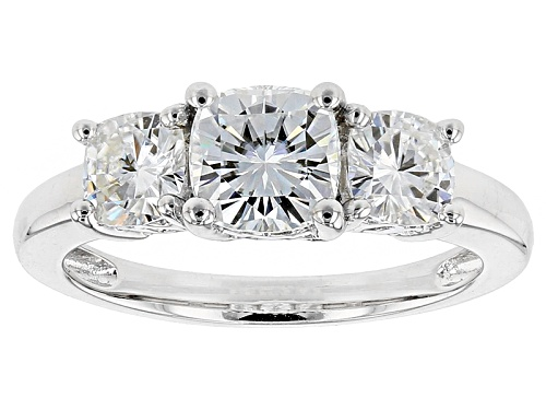 Photo of Pre-Owned Moissanite Fire® 2.50ctw Diamond Equivalent Weight Cushion Cut Platineve™ Ring - Size 7