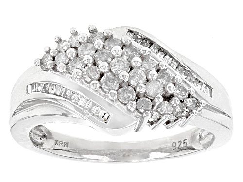 Photo of Pre-Owned .50ctw Round And Baguette White Diamond Rhodium Over Sterling Silver Ring - Size 7