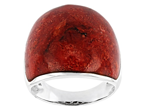 Photo of Pre-Owned 22x19.5mm Fancy Cabochon Red Sponge Coral Sterling Silver Dome Ring - Size 10