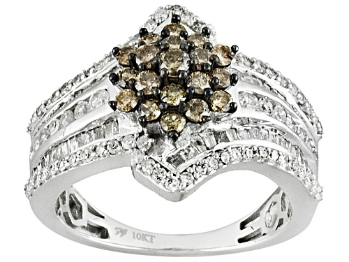 Photo of Pre-Owned 1.50ctw Round And Baguette Champagne And White Diamond 10k White Gold Ring - Size 9