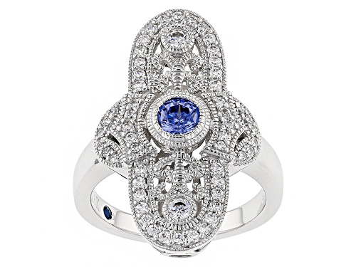 Photo of Pre-Owned Vanna K ™ For Bella Luce ® 1.31ctw Tanzanite And White Diamond Simulants Platineve ™ Ring - Size 5