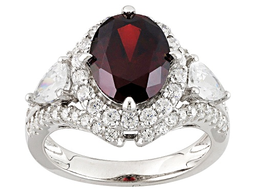 Photo of Pre-Owned Bella Luce ® Esotica ™ 6.83ctw Spessartite & Diamond Simulants Rhodium Over Sterling Ring - Size 12