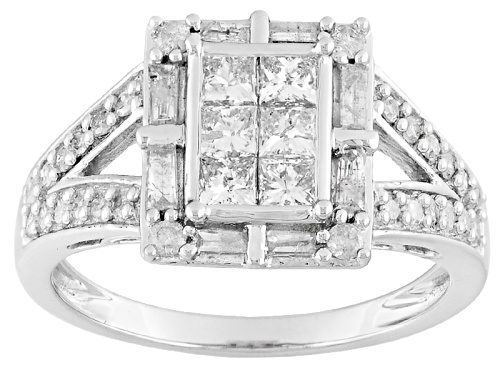Photo of Pre-Owned 1.00ctw Round, Baguette And Princess Cut White Diamond 10k White Gold Ring - Size 7