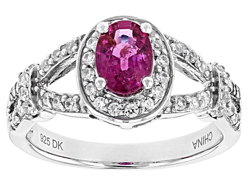 Photo of Pre-Owned .60ct Oval Rubellite Tourmaline  With .40ctw Round White Zircon Sterling Silver Ring - Size 11
