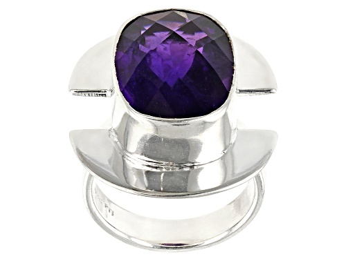Photo of Pre-Owned 9.00ct Rectangular Cushion African Amethyst Sterling Silver Solitaire Ring - Size 4