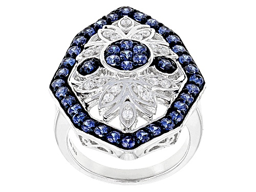 Photo of Pre-Owned Bella Luce ® 3.05ctw Sapphire And White Diamond Simulants Rhodium Over Sterling Silver Rin - Size 7