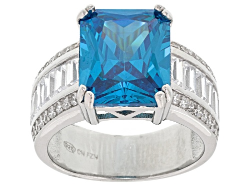 Photo of Pre-Owned Bella Luce ® 13.82ctw Neon Apatite And White Diamond Simulants Rhodium Over Sterling Silve - Size 9