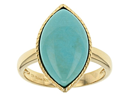 Photo of Pre-Owned Tehya Oyama Turquoise™ 18x10mm Marquise Chilean Turquoise 18k Gold Over Silver Ring - Size 4