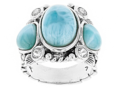 Photo of Pre-Owned 13x9mm Oval And 7x7mm Trillion Cabochon Larimar With .60ctw Round White Topaz Sterling Sil - Size 8