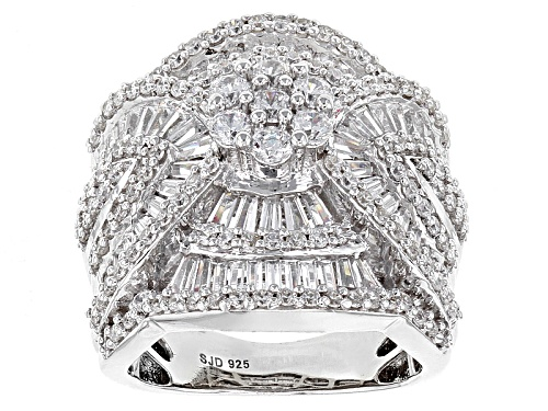 Photo of Pre-Owned Bella Luce ® 5.60ctw White Diamond Simulant Rhodium Over Sterling Silver Ring (4.08ctw Dew - Size 5