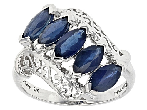 Photo of Pre-Owned Exotic Jewelry Bazaar™ 1.98ctw Marquise Kanchanaburi Sapphire Sterling Silver 5-Stone Ring - Size 5