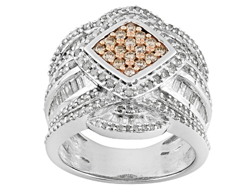 Photo of Pre-Owned 2.00ctw Round Champagne And Round And Baguette White Diamond Rhodium Over Silver Cluster R - Size 5