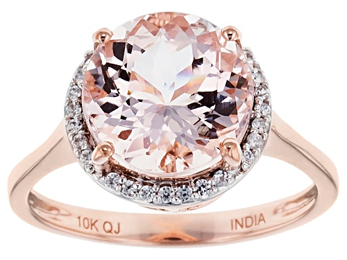 Photo of Pre-Owned 3.33ct Round Mozambique Morganite With .16ctw Round White Zircon 10k Rose Gold Ring - Size 9