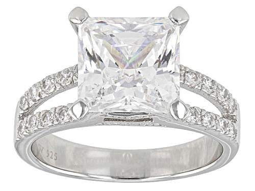 Photo of Pre-Owned Charles Winston For Bella Luce ® 7.40ctw White Diamond Simulant Rhodium Over Sterling Ring - Size 5