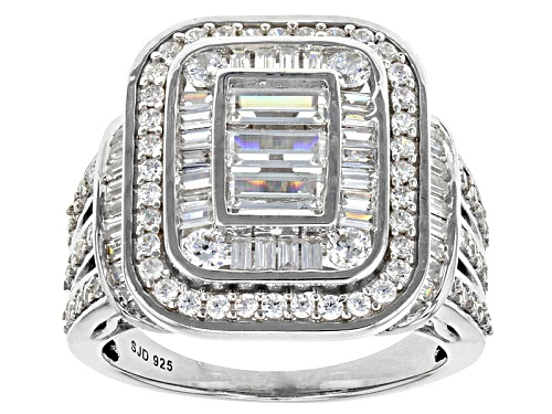Photo of Pre-Owned Bella Luce ® 3.55ctw White Diamond Simulant Rhodium Over Sterling Silver Ring (2.48ctw Dew - Size 5